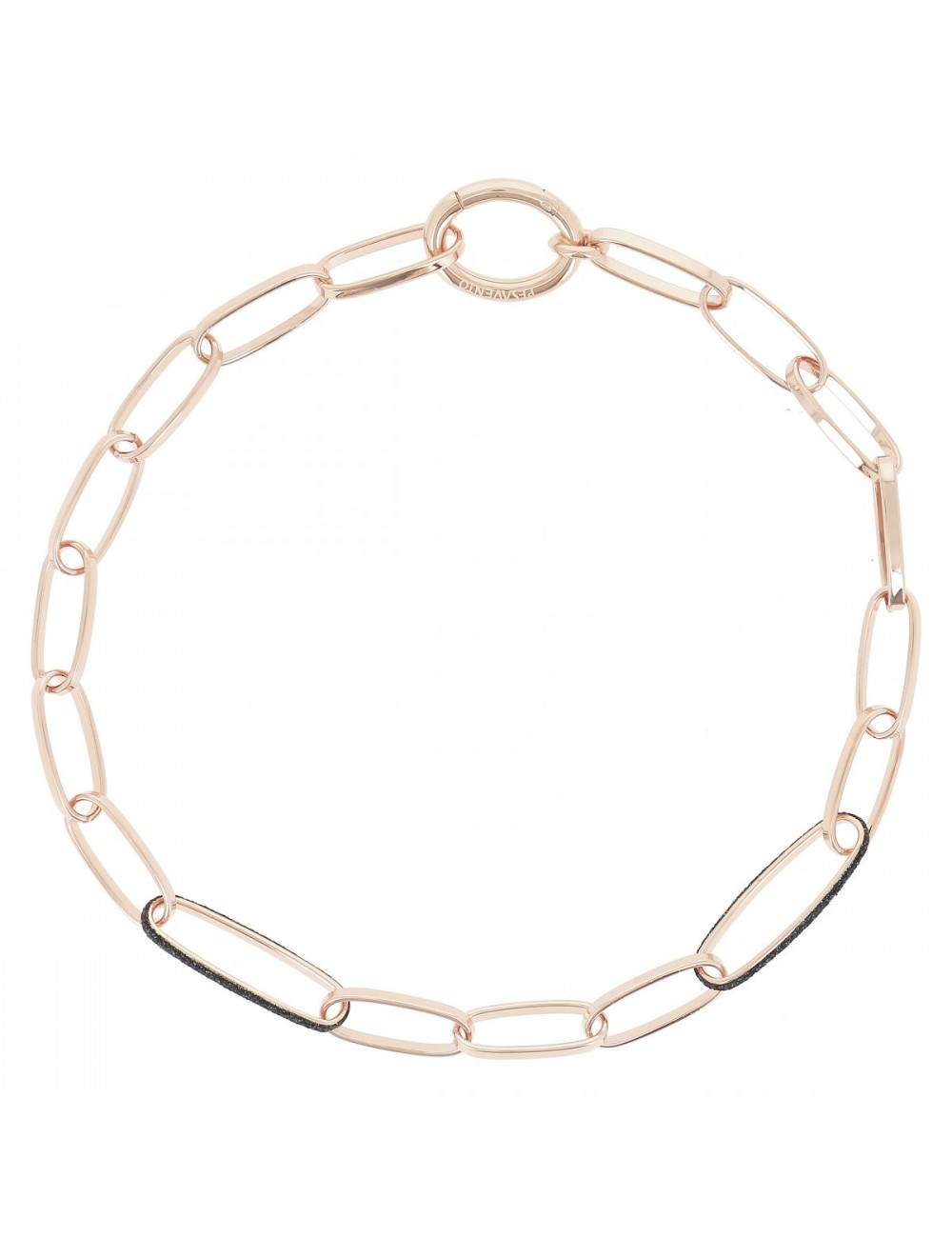 Pesavento -Collar Pesavento eslabones plata baño oro rosa -WPLVE1823
