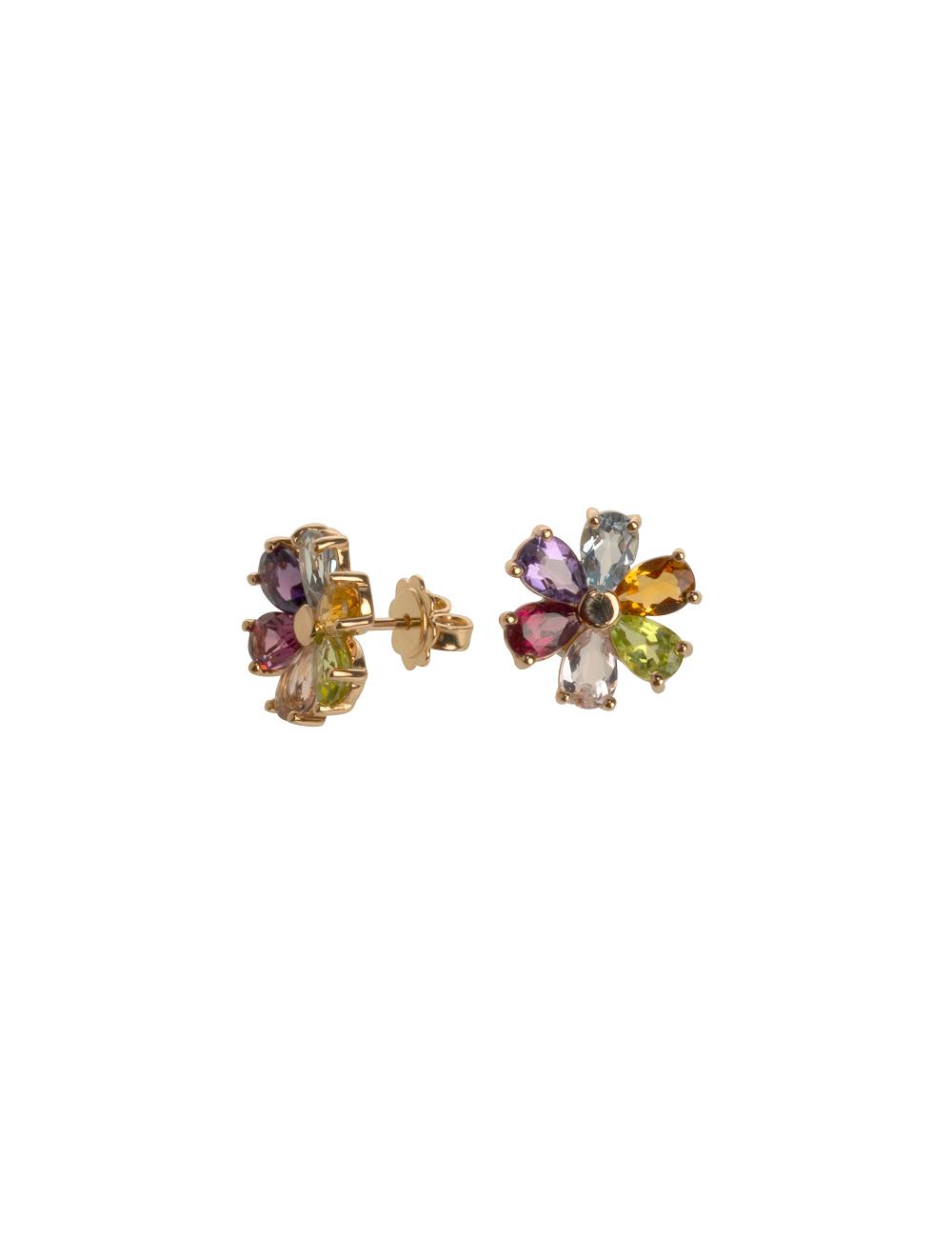 -Pendientes oro blanco en forma de flor -A41-MOD0F6/MIX1:03