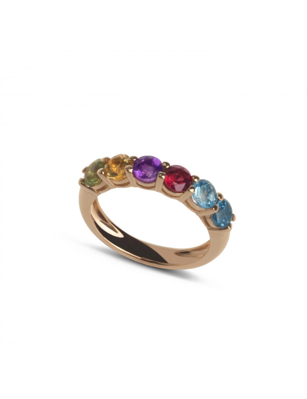 -Anillo oro rosa con 6 gemas circulares de colores -A30-S141MIX2:03