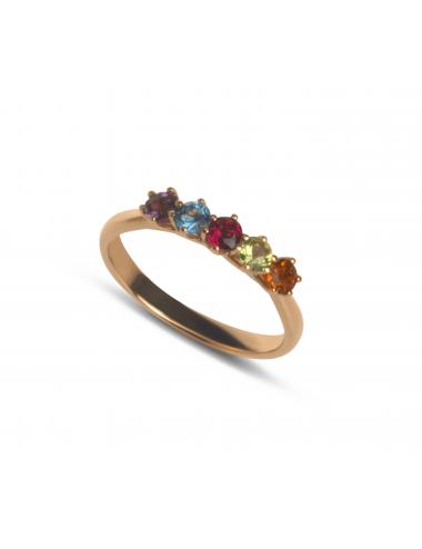 -Anillo oro rosa con gemas circulares de colores -A30-37164MIX1:03