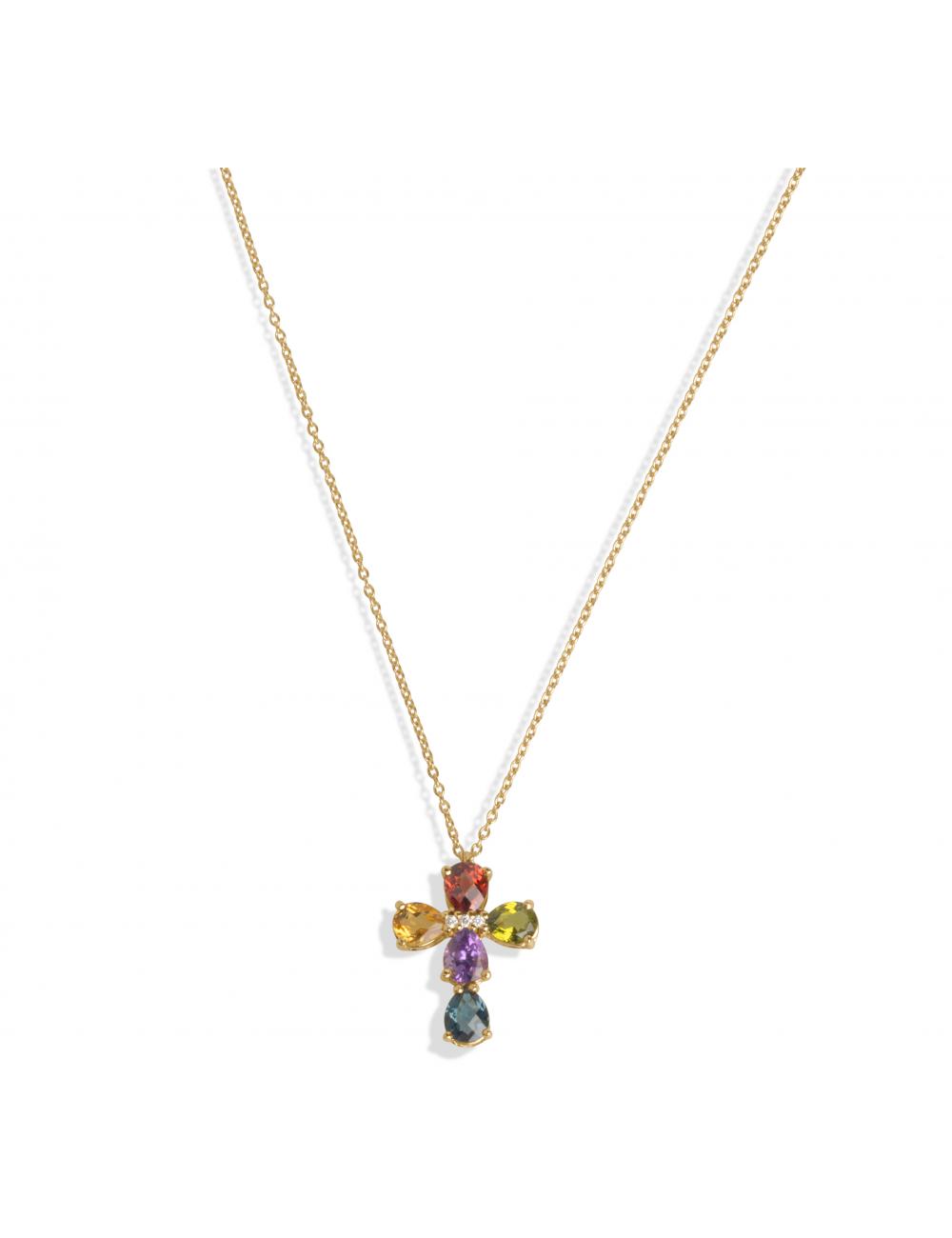 -Collar oro rosa con Brillantes, Topacio London azul, Granate, Citrino, Peridoto y Amatista -A01-50/30MIX4-43:03