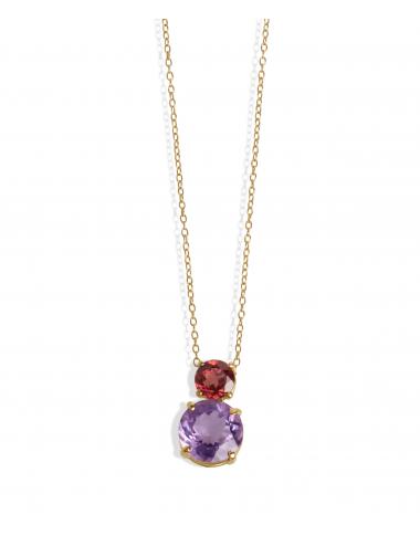 -Collar oro rosa Amatista y Rodolita -A01-20/08AR-43:03