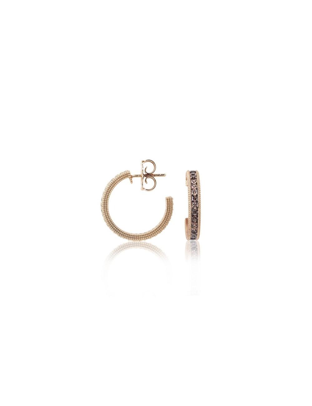 Sunfield -Pendientes Sunfield plata baño oro rosa y circonitas -PE062531/2