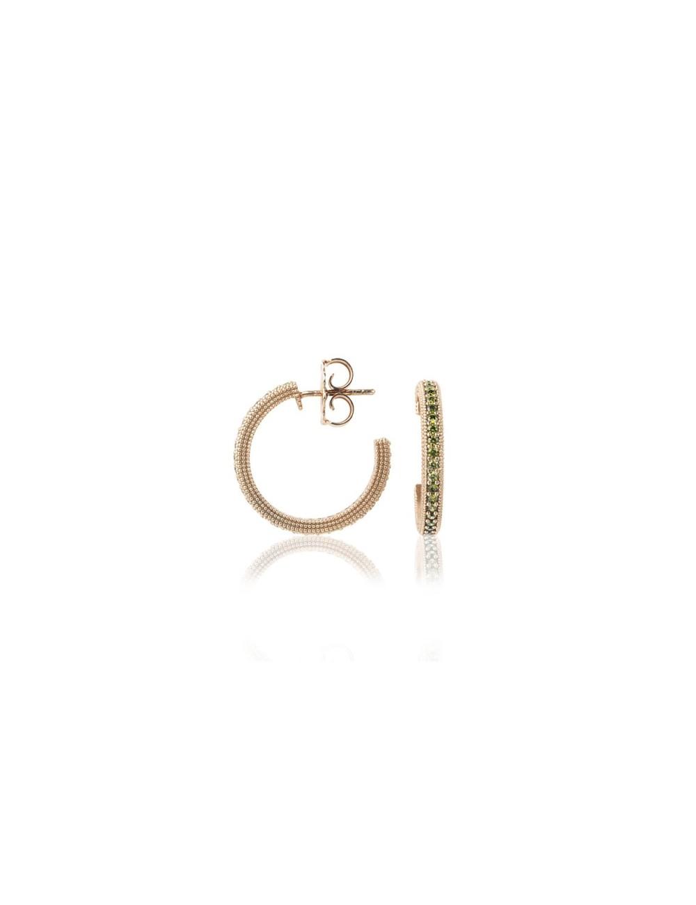 Sunfield -Pendientes Sunfield plata baño oro rosa y circonitas -PE062530/2