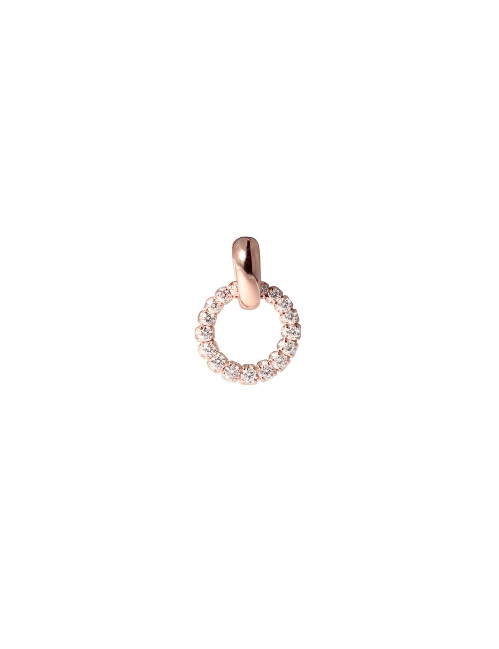 -Colgante oro rosa círculo con diamantes -FP3259R001