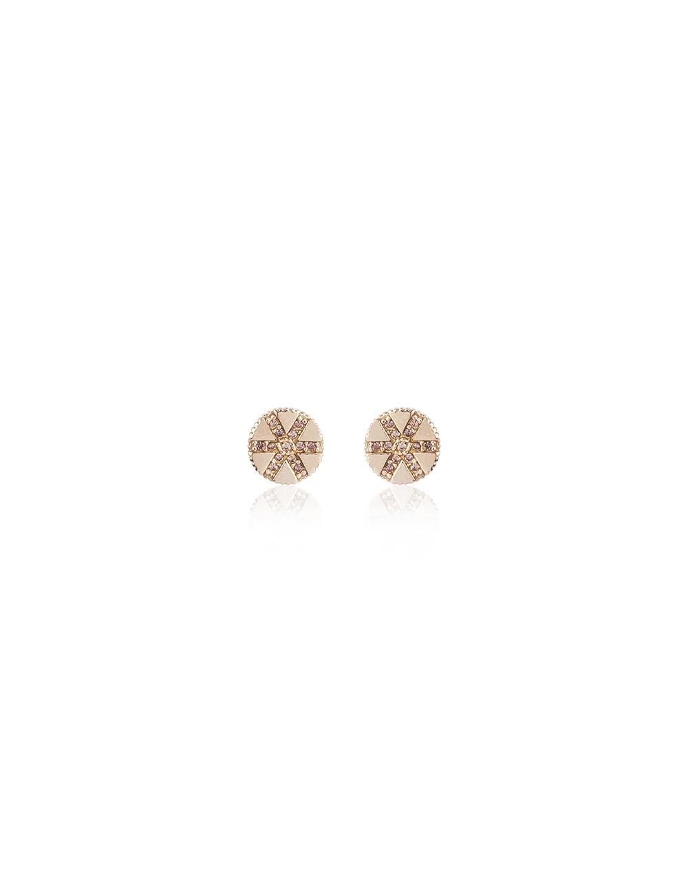 Sunfield -Pendientes Sunfield plata baño oro rosa y circonitas -PE062333/2/12