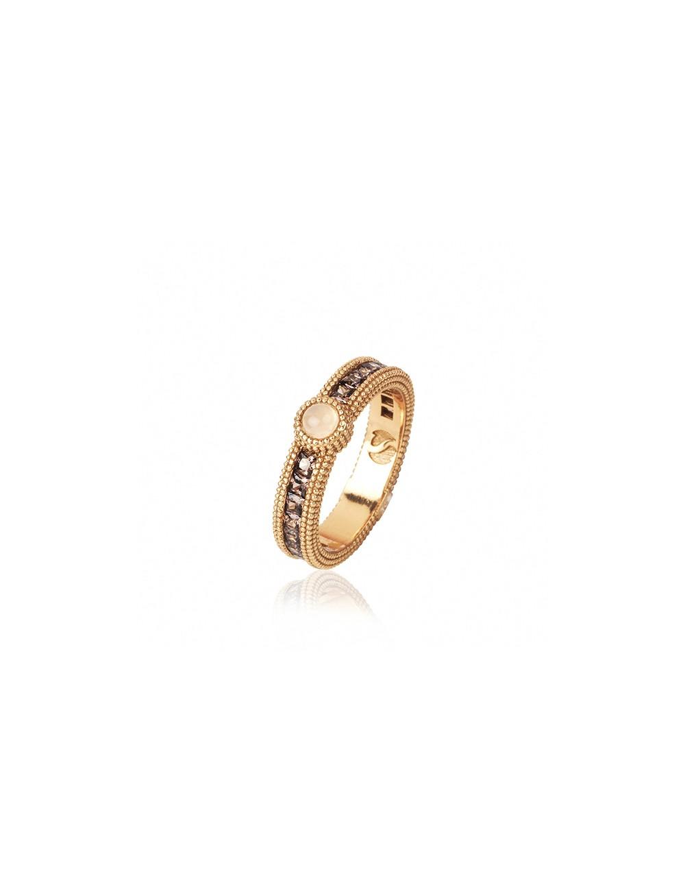 Sunfield -Anillo Sunfield plata baño oro rosa, cuarzo rosa y circonitas -AN062340/2/15