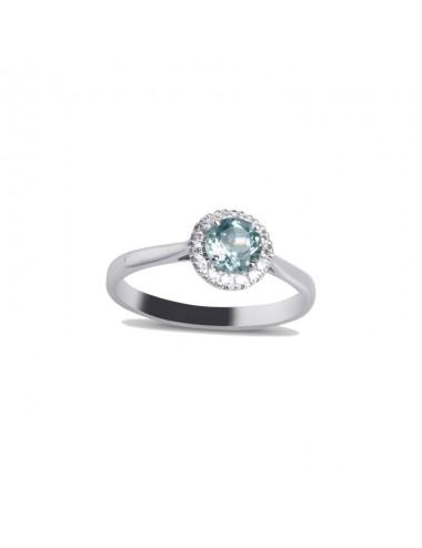 -Anillo oro blanco con diamantes y topacio celeste claro sky -520182