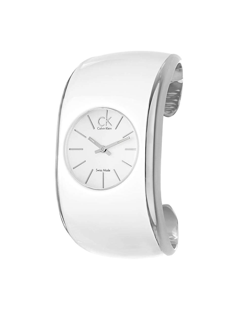 -Calvin Klein brillo esmalte blanco pulsera -K6004101