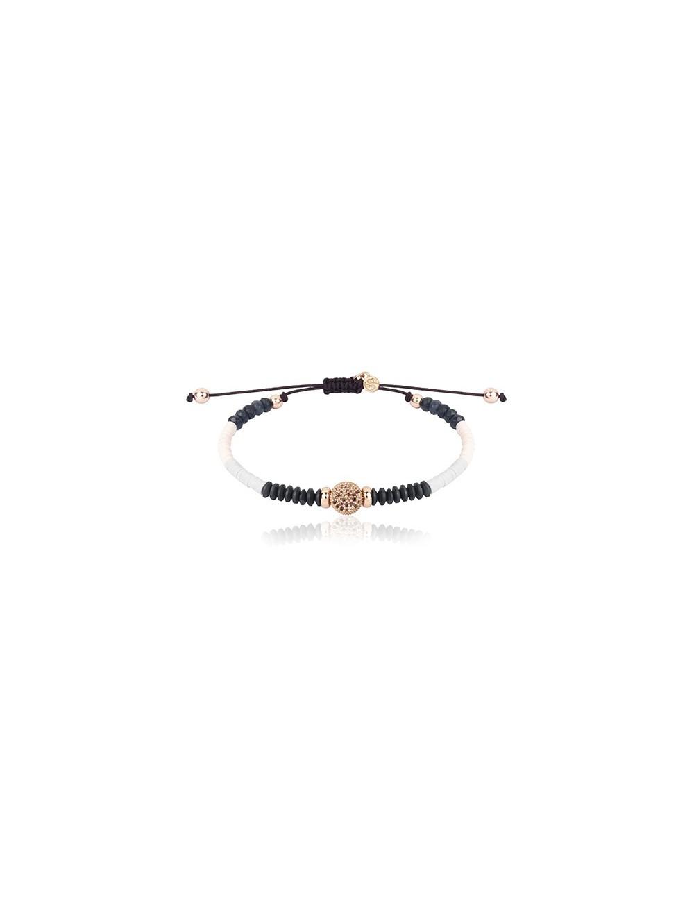 Sunfield -Pulsera plata baño oro rosa, circonitas, hematites, cristal y caucho -PU062330/2/12