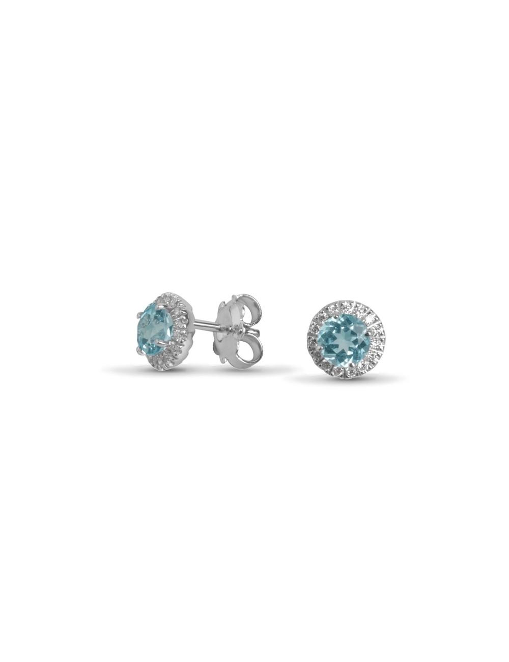 -Pendientes en oro blanco con diamantes y topacio en azul celeste -520183