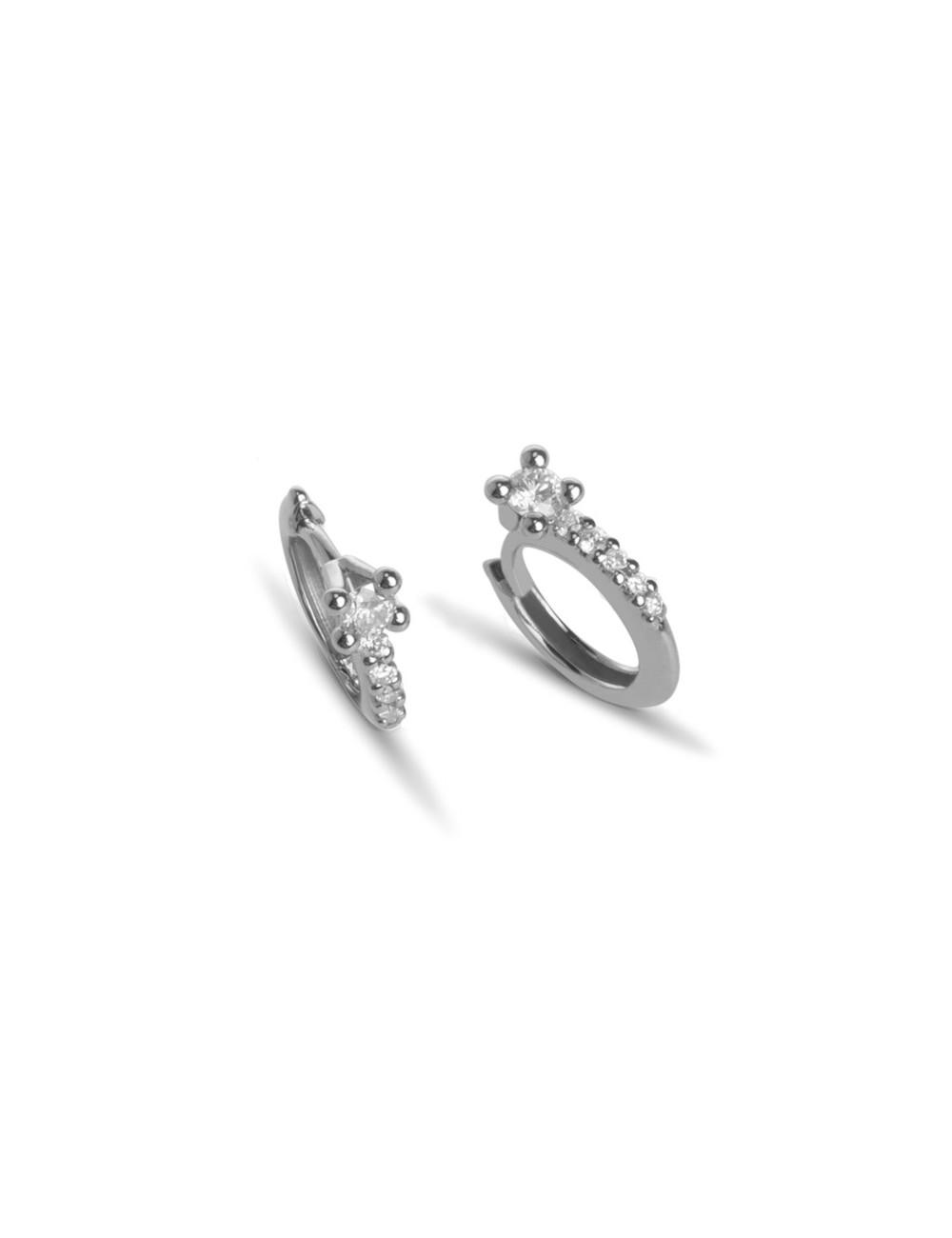 -Aros de oro blanco con diamantes -520163