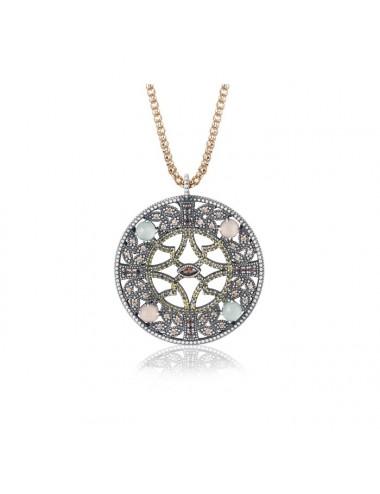 Sunfield -Collar Sunfield plata, calcedonia, cuarzo rosa y circonitas -CL062480