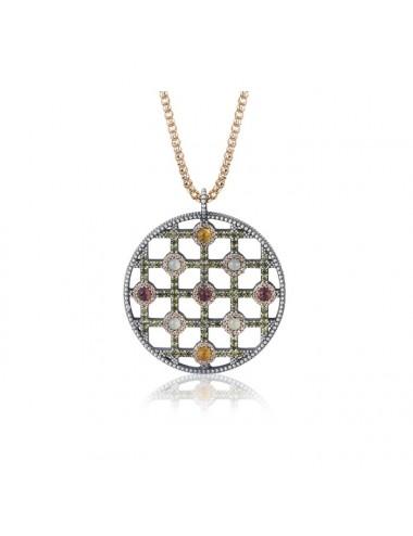Sunfield -Collar Sunfield plata, calcedonia, turmalina rosa, citrino y circonitas -CL062481