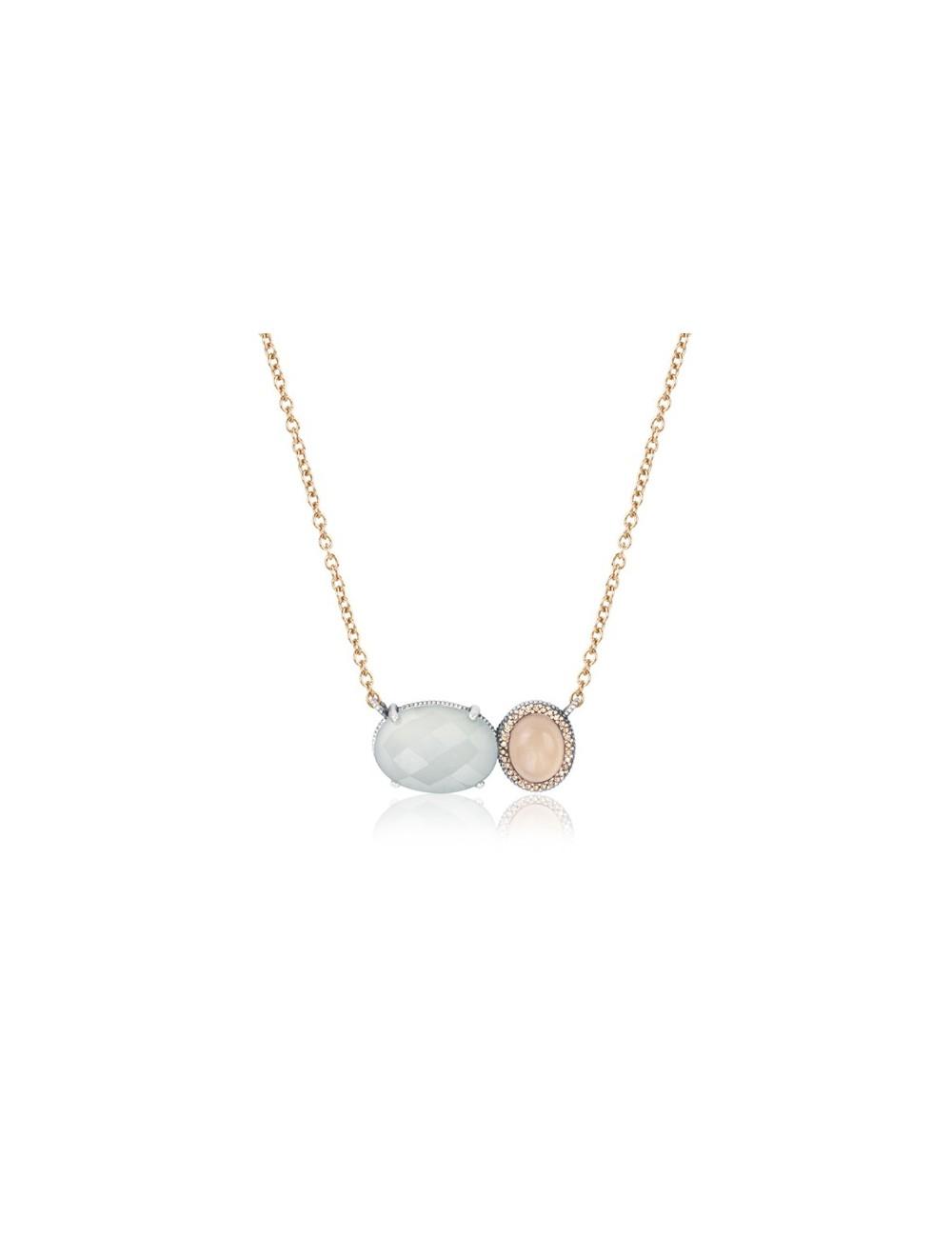 Sunfield -Collar Sunfield plata, calcedonia, cuarzo rosa y circonitas -CL062506