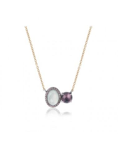 Sunfield -Collar Sunfield plata, calcedonia, turmalina rosa y circonitas -CL062507