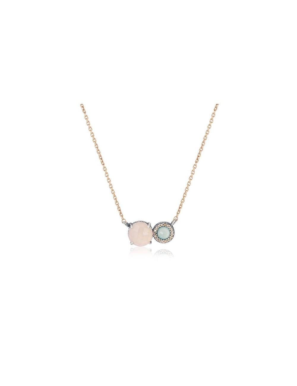 Sunfield -Collar Sunfield plata, cuarzo rosa, calcedonia y circonitas -CL062504