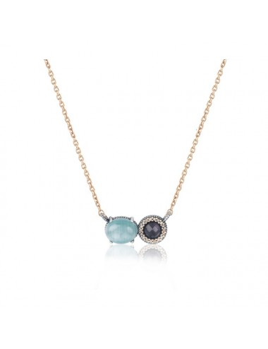 Sunfield -Collar Sunfield plata, turmalina rosa, símil ópalo y circonitas -CL062502