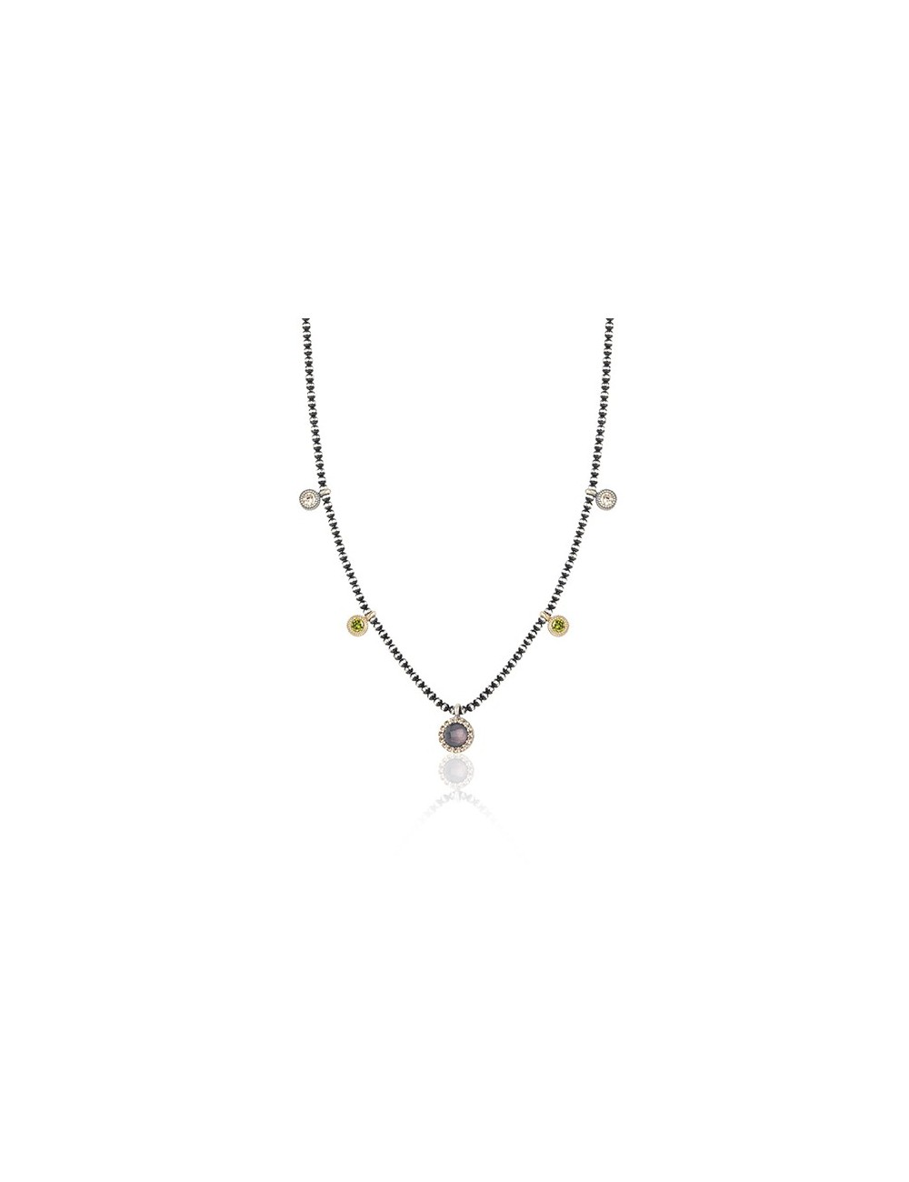 Sunfield -Collar Sunfield plata turmalina rosa y circonitas -CL062445