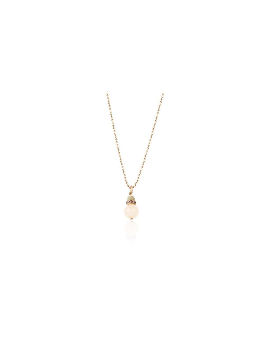 Sunfield -Collar Sunfield plata baño oro rosa, ágata circonitas y cristal -CL062350/15