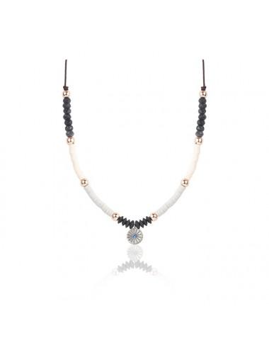 Sunfield -Collar Sunfield plata, circonita, caucho y nailon -CL062332/17