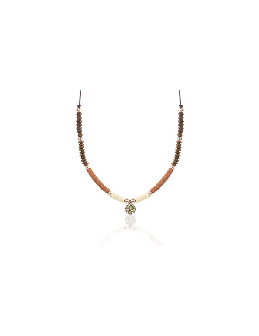 Sunfield -Collar Sunfield plata, circonita, caucho y nailon -CL062330/20