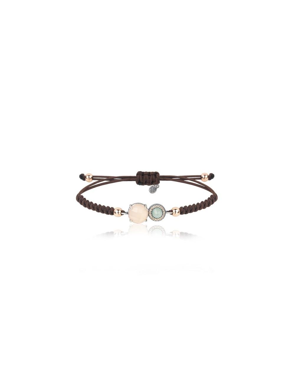 Sunfield -Pulsera Sunfield plata, cuarzo rosa, calcedonia, circonitas y nailon -PU062504