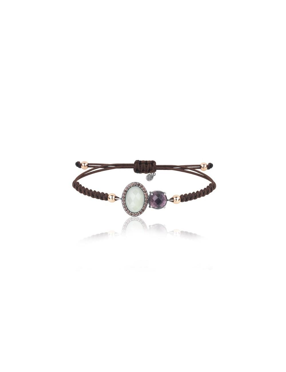 Sunfield -Pulsera Sunfield plata, turmalina rosa, calcedonia, circonitas y nailon -PU062507